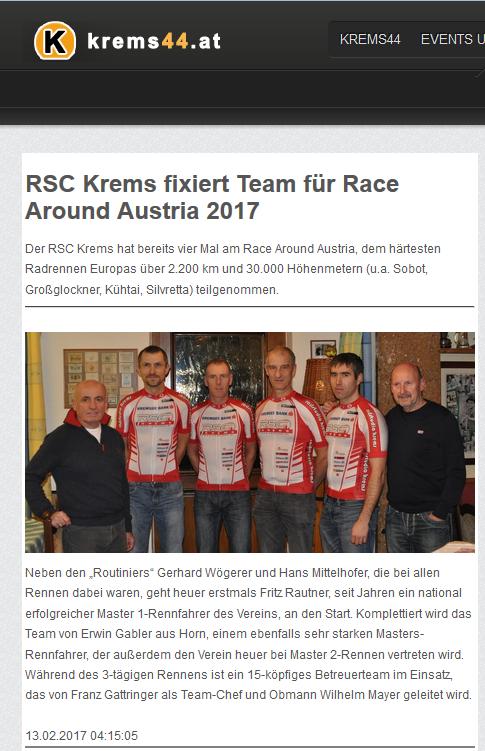 RSC Krems Fixiert Team Für RAA 2017